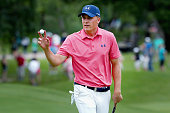 Jordan Spieth waves to the gallery on the 10th green during Round Three at the ATT Byron Nelson on May 21 2016 in Irving Texas
