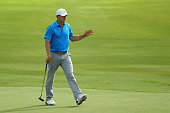 Jordan Spieth waves to the gallery on the 15th green during Round Two at the ATT Byron Nelson on May 20 2016 in Irving Texas
