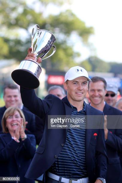 Jordan Spieth with the trophy after winning the Travelers Championship Tournament at the TPC River Highlands Golf Course on June 25th 2017 in...