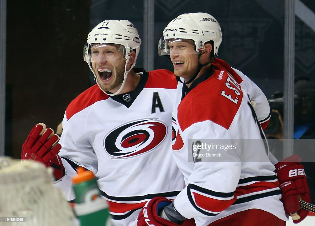 Jordan Staal #11 and Eric Staal #12 of the Carolina Hurricanes celebrate the game tying goal by Chris Terry #25 at 14:56 of the third period against the New York Islanders at the Barclays Center on October 29, 2015 in the Brooklyn borough of New York City. The Hurricanes defeated the Islanders 3-2 in overtime.
