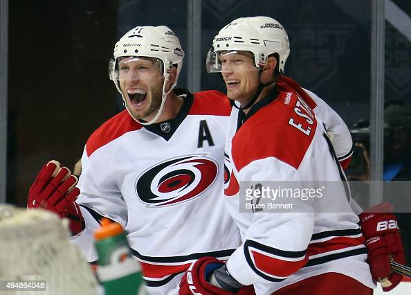 Jordan Staal and Eric Staal of the Carolina Hurricanes celebrate the game tying goal by Chris Terry at 1456 of the third period against the New York...