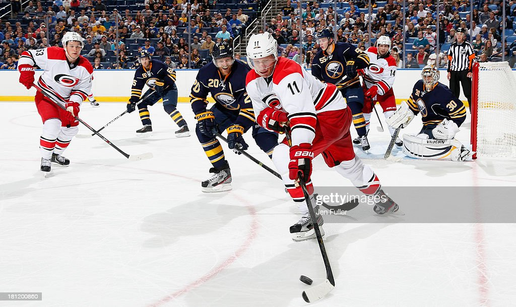 <a gi-track='captionPersonalityLinkClicked' href=/galleries/search?phrase=Jordan+Staal&family=editorial&specificpeople=533044 ng-click='$event.stopPropagation()'>Jordan Staal</a> #11 of the Carolina Hurricanes controls the puck in front of <a gi-track='captionPersonalityLinkClicked' href=/galleries/search?phrase=Henrik+Tallinder&family=editorial&specificpeople=204661 ng-click='$event.stopPropagation()'>Henrik Tallinder</a> #20 of the Buffalo Sabres at First Niagara Center on September 19, 2013 in Buffalo, United States.