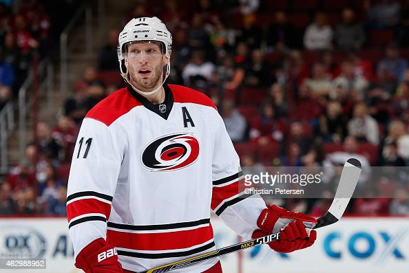 Jordan Staal of the Carolina Hurricanes during the NHL game against the Arizona Coyotes at Gila River Arena on February 5 2015 in Glendale Arizona...