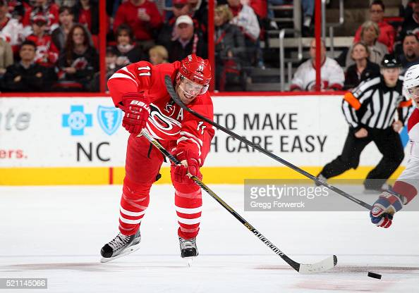 Jordan Staal of the Carolina Hurricanes passes the puck during an NHL game against the Montreal Canadiens at PNC Arena on April 7 2016 in Raleigh...