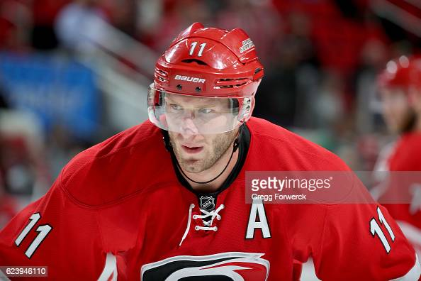 Jordan Staal of the Carolina Hurricanes prepares for a faceoff during an NHL game against the Anaheim Ducks on November 10 2016 at PNC Arena in...