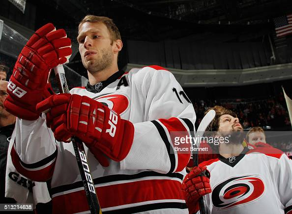 Jordan Staal of the Carolina Hurricanes prepares for his game against the New Jersey Devils at the Prudential Center on March 1 2016 in Newark New...