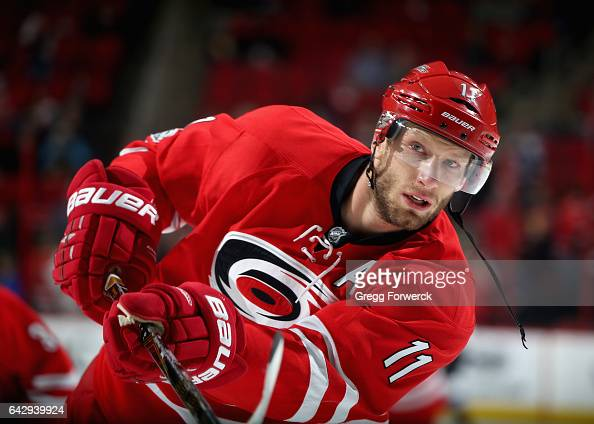 Jordan Staal of the Carolina Hurricanes shoots a puck during warm ups prior to an NHL game against the Colorado Avalanche on February 17 2017 at PNC...