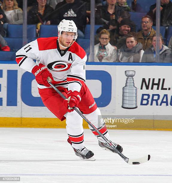 Jordan Staal of the Carolina Hurricanes skates against the Buffalo Sabres on April 6 2015 at the First Niagara Center in Buffalo New York