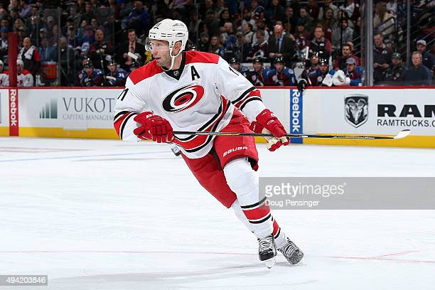Jordan Staal of the Carolina Hurricanes skates against the Colorado Avalanche at Pepsi Center on October 21 2015 in Denver Colorado The Hurricanes...