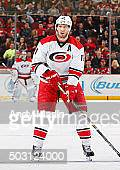 Jordan Staal of the Carolina Hurricanes skates against the New Jersey Devils during the game at the Prudential Center on December 29 2015 in Newark...