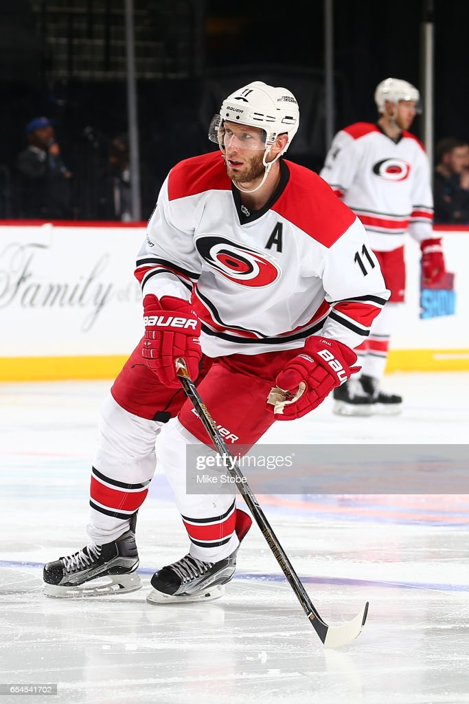 Jordan Staal #11 of the Carolina Hurricanes skates against the New York Islanders skates against the Carolina Hurricanes at the Barclays Center on March 13, 2017 in Brooklyn borough of New York City. Carolina Hurricanes defeated the New York Islanders 8-4.