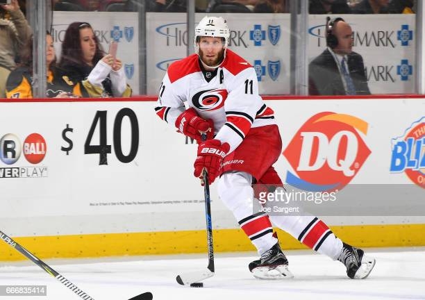 Jordan Staal of the Carolina Hurricanes skates against the Pittsburgh Penguins at PPG Paints Arena on April 2 2017 in Pittsburgh Pennsylvania
