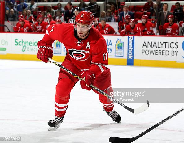 Jordan Staal of the Carolina Hurricanes skates for position on the ice against the Anaheim Ducks during a NHL game at PNC Arena on November 16 2015...