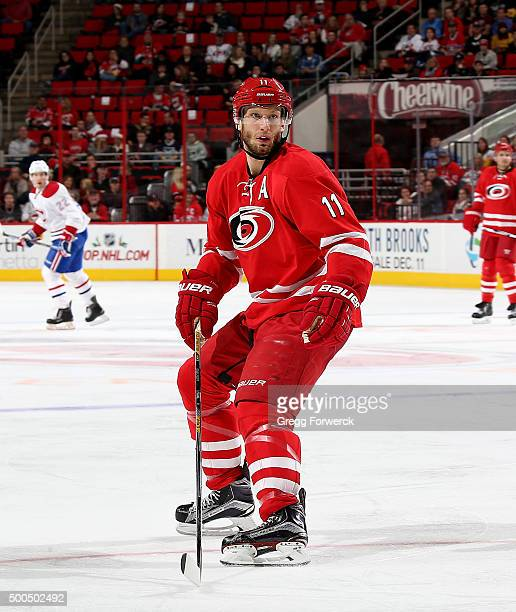 Jordan Staal of the Carolina Hurricanes skates to a defensive position against the Montreal Canadiens during a NHL game at PNC Arena on December 5...