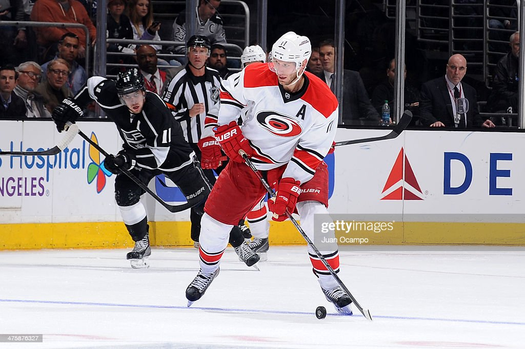 <a gi-track='captionPersonalityLinkClicked' href=/galleries/search?phrase=Jordan+Staal&family=editorial&specificpeople=533044 ng-click='$event.stopPropagation()'>Jordan Staal</a> #11 of the Carolina Hurricanes skates with the puck against the Los Angeles Kings at Staples Center on March 1, 2014 in Los Angeles, California.