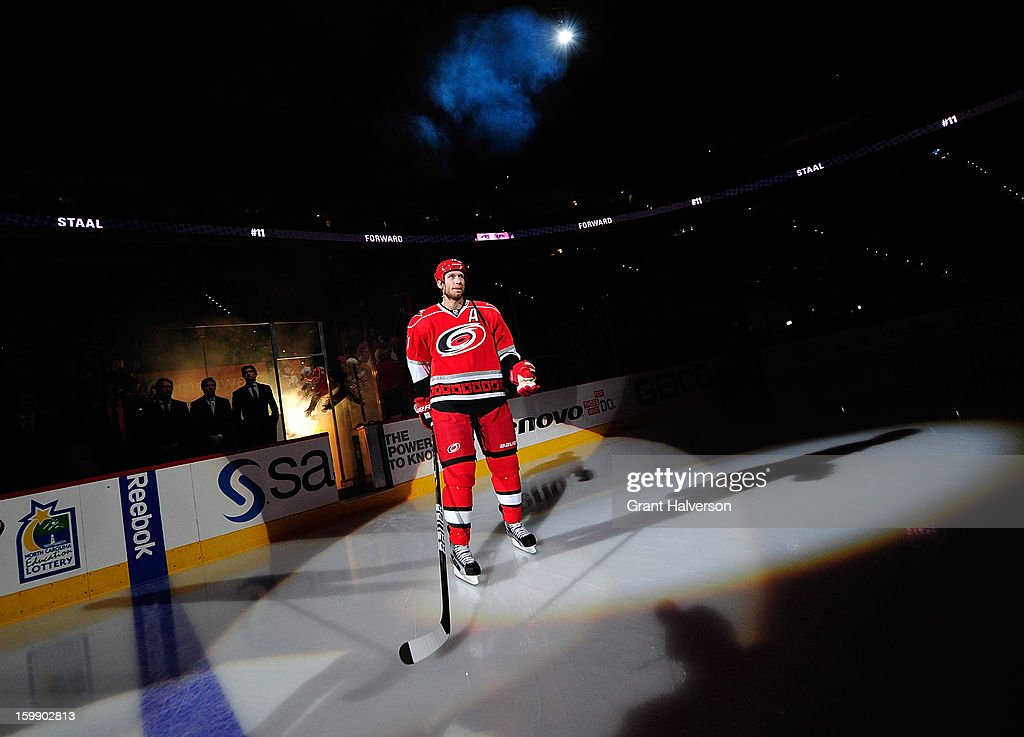 Jordan Staal #11 of the Carolina Hurricanes steps onto the ice before his first home game against the Tampa Bay Lightning during play at PNC Arena on January 22, 2013 in Raleigh, North Carolina.