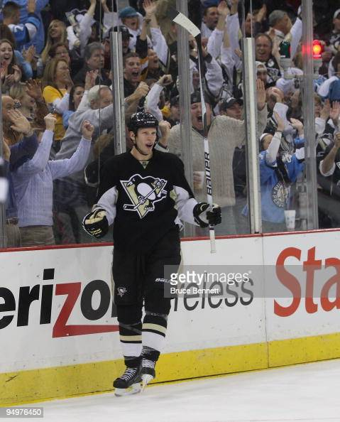 Jordan Staal of the Pittsburgh Penguins celebrates his shorthanded goal in the first period against the Philadelphia Flyers at the Mellon Arena on...