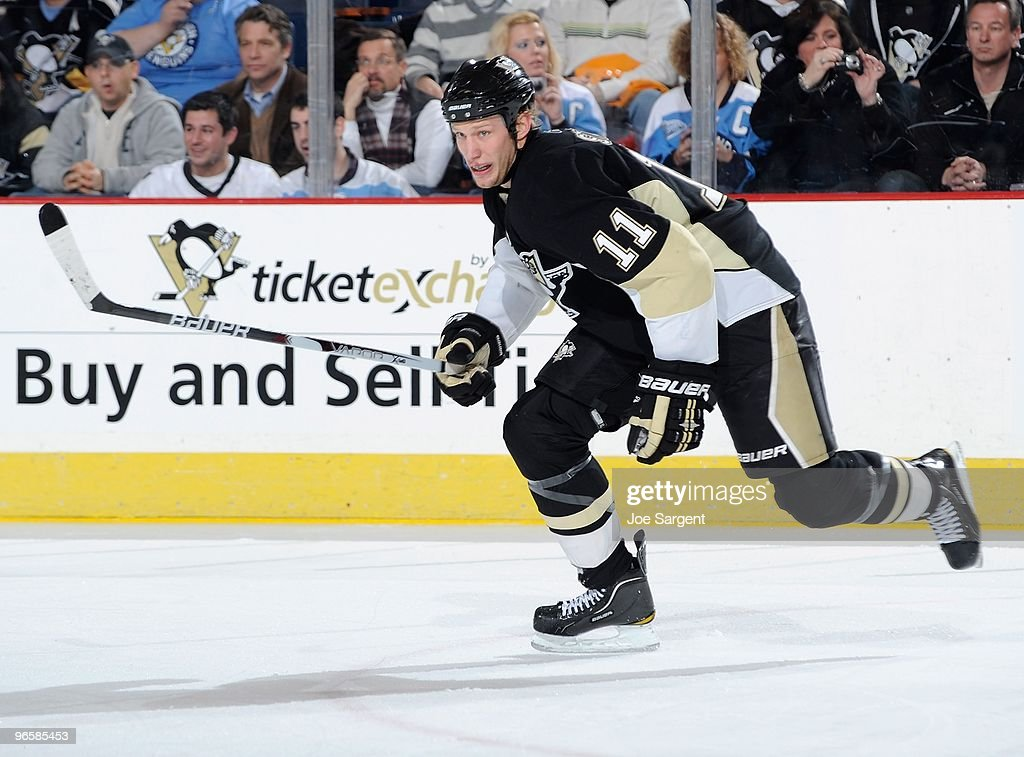 Jordan Staal of the Pittsburgh Penguins skates up ice against the New York Islanders on February 10 2010 at Mellon Arena in Pittsburgh Pennsylvania