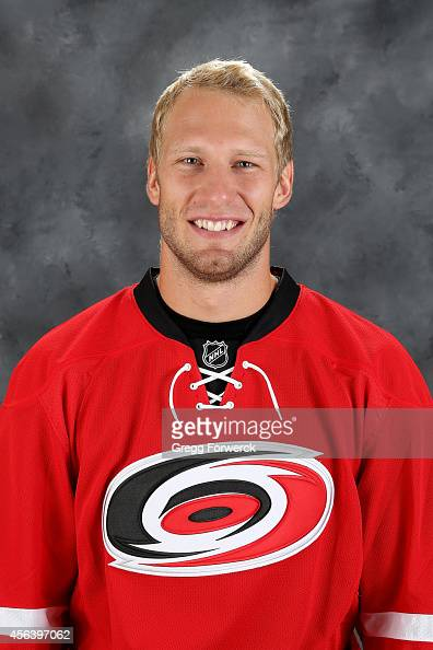 Jordan Stall of the Carolina Hurricanes poses for his official headshot for the 20142015 season at Carolina Family Practice on September 18 2014 in...