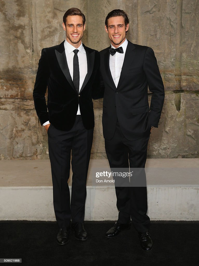 <a gi-track='captionPersonalityLinkClicked' href=/galleries/search?phrase=Jordan+Stenmark&family=editorial&specificpeople=8682038 ng-click='$event.stopPropagation()'>Jordan Stenmark</a> and <a gi-track='captionPersonalityLinkClicked' href=/galleries/search?phrase=Zac+Stenmark&family=editorial&specificpeople=8682039 ng-click='$event.stopPropagation()'>Zac Stenmark</a> arrive ahead of the Myer AW16 Fashion Launch at Barangaroo Reserve on February 11, 2016 in Sydney, Australia.
