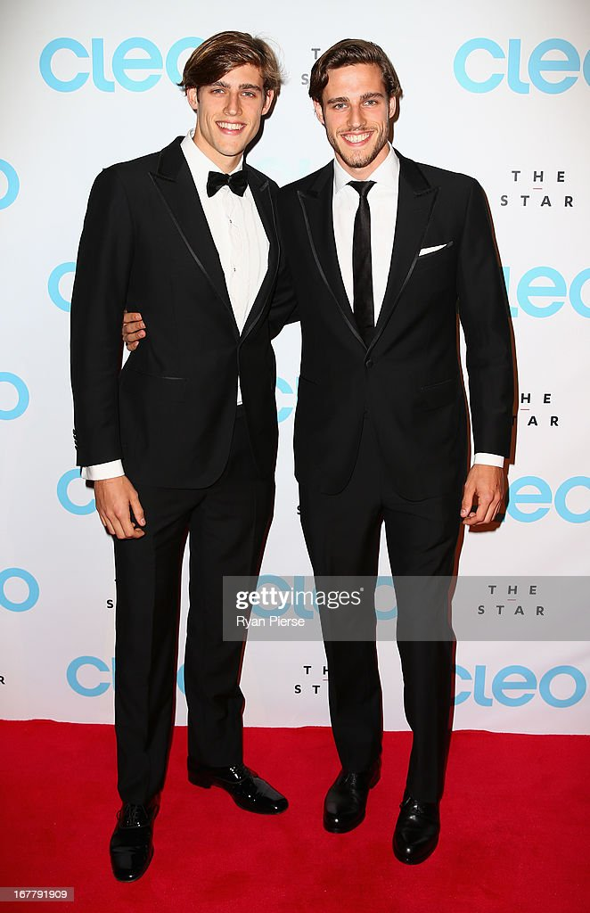 Jordan Stenmark and Zac Stenmark arrive at the CLEO magazine relaunch party at The Star on April 30, 2013 in Sydney, Australia.