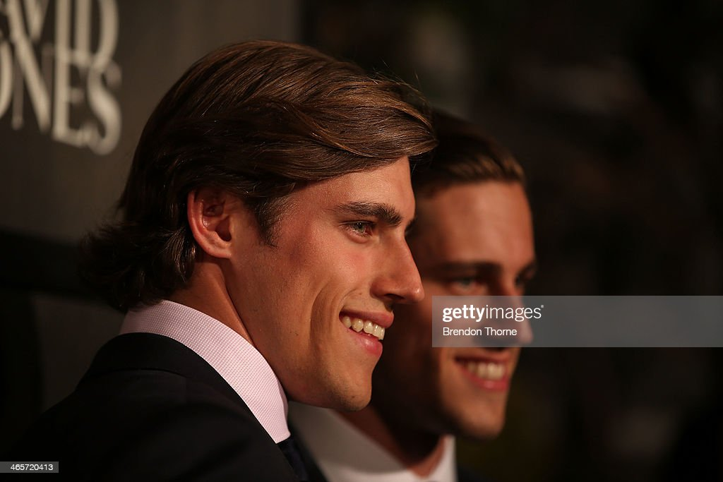 <a gi-track='captionPersonalityLinkClicked' href=/galleries/search?phrase=Jordan+Stenmark&family=editorial&specificpeople=8682038 ng-click='$event.stopPropagation()'>Jordan Stenmark</a> and <a gi-track='captionPersonalityLinkClicked' href=/galleries/search?phrase=Zac+Stenmark&family=editorial&specificpeople=8682039 ng-click='$event.stopPropagation()'>Zac Stenmark</a> arrive at the David Jones A/W 2014 Collection Launch at the David Jones Elizabeth Street Store on January 29, 2014 in Sydney, Australia.