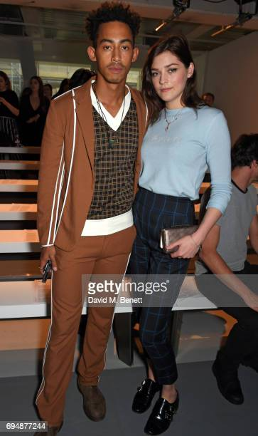 Jordan Stephens and Amber Anderson attend the Christopher Raeburn show during the London Fashion Week Men's June 2017 collections on June 11 2017 in...