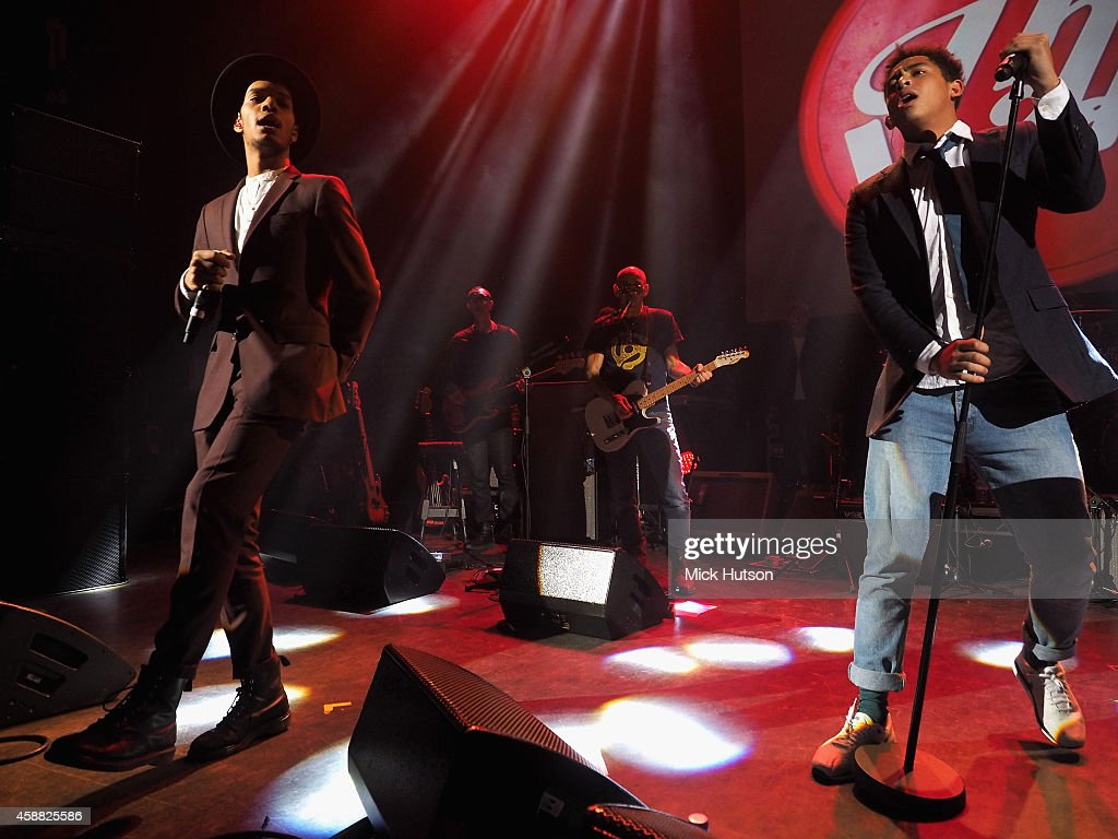 Jordan Stephens and Harley Alexander-Sule of Rizzle Kicks perform on stage as part of an evening of The Who music in aid of Teenage Cancer Trust, at O2 Shepherd's Bush Empire on November 11, 2014 in London, England.