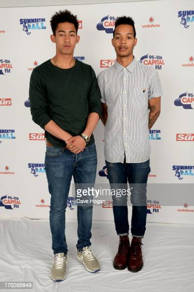 Jordan Stephens and Harley AlexanderSule of Rizzle Kicks pose in a backstage studio during the Capital Summertime Ball at Wembley Stadium on June 9...