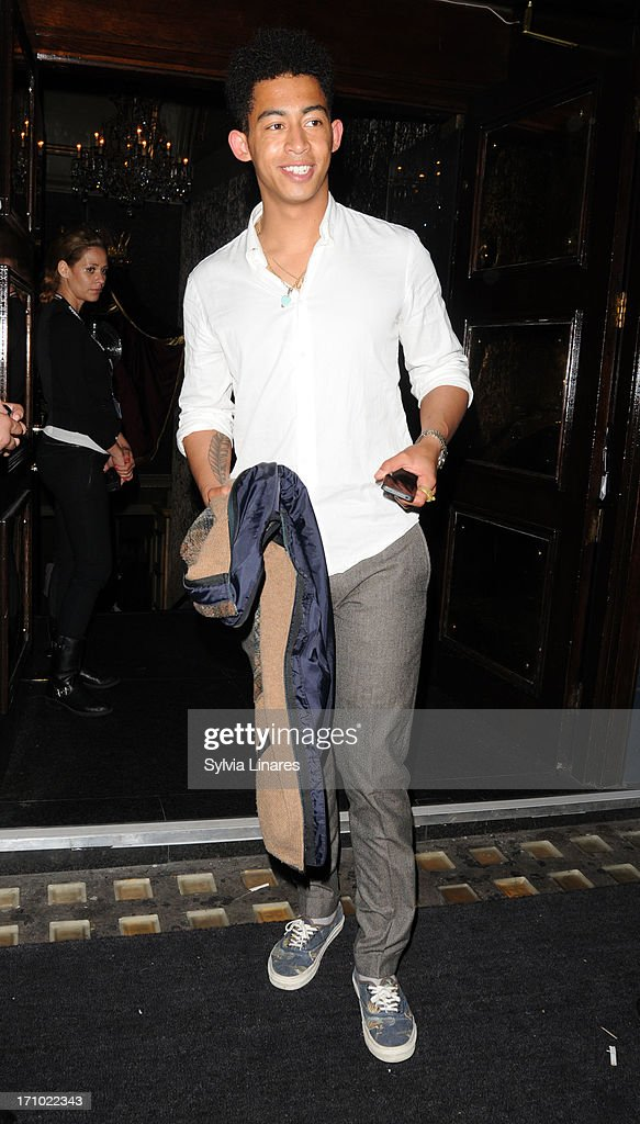 Jordan Stephens of Rizzle Kicks leaves Cafe de Paris Club on June 20, 2013 in London, England.