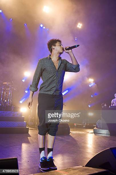 Jordan Stephens of Rizzle Kicks perfoms on stage at Eventim Apollo Hammersmith on March 1 2014 in London England