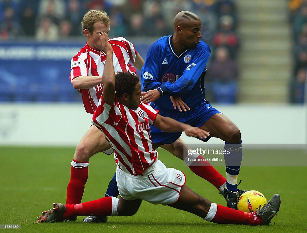 Jordan Stewart of Leicester City is tackled by Wayne Thomas of Stoke City during the Nationwide League Division One match held on January 11, 2003 at the Walkers Stadium, in Leicester, England. The match ended in a 0-0 draw.