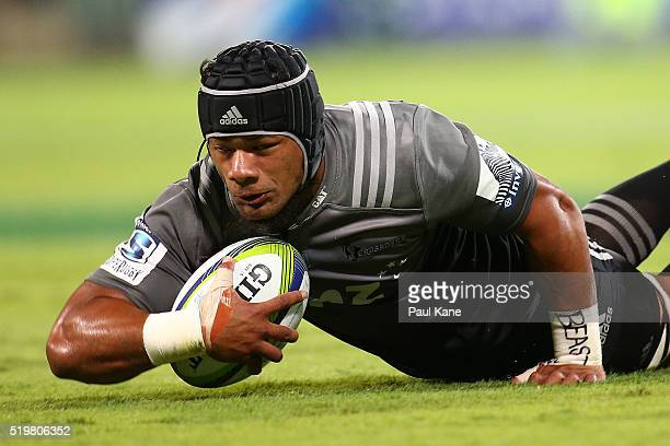 Jordan Taufua of the Crusaders gets tackled during the round seven Super Rugby match between the Force and the Crusaders at nib Stadium on April 8...