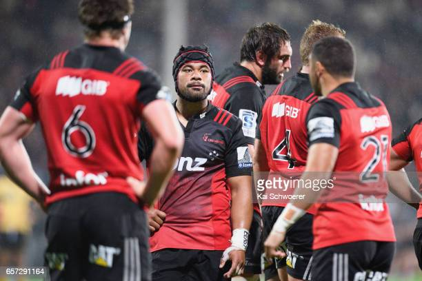 Jordan Taufua of the Crusaders looks on during the round five Super Rugby match between the Crusaders and the Force at AMI Stadium on March 24 2017...