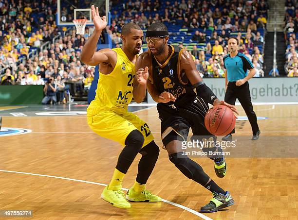 Jordan Taylor of ALBA Berlin and Mustafa Shakur of the MHP Riesen Ludwigsburg during the game between Alba Berlin and MHP Riesen Ludwigsburg on...