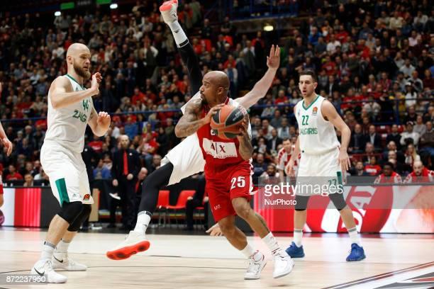Jordan Theodore looks for a pass during a game of Turkish Airlines EuroLeague basketball between AX Armani Exchange Milan vs Zalgiris Kaunas at...