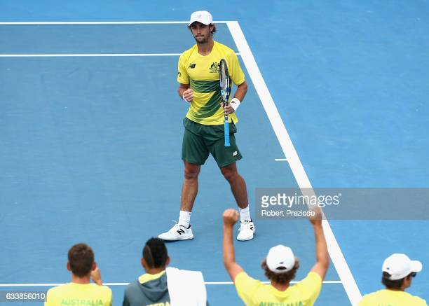 Jordan Thompson of Australia celebrates a win in his singles match against Jan Satral of Czech Republic during the first round World Group Davis Cup...
