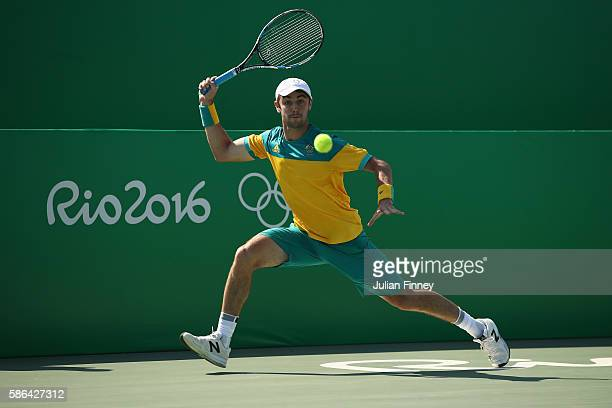 Jordan Thompson of Australia in action against Kyle Edmund of Great Britain in the men's first round on Day 1 of the Rio 2016 Olympic Games at the...