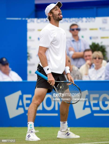 Jordan Thompson of Australia in action during his defeat by Sam Querrey of USA in their Men's Singles Second Round Match during Day 4 of the Aegon...