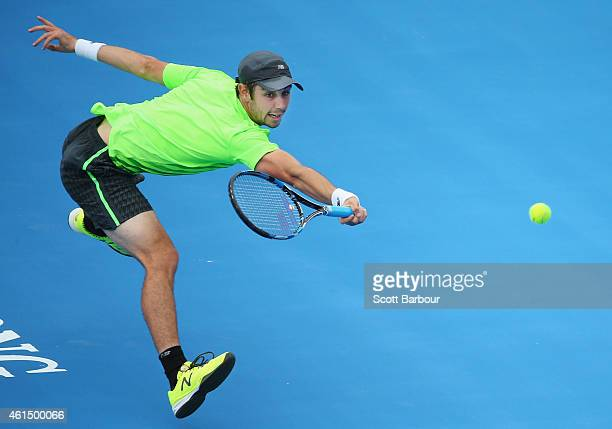 Jordan Thompson of Australia lunges for the ball during his match against Kei Nishikori of Japan during day two of the Priceline Pharmacy Classic at...