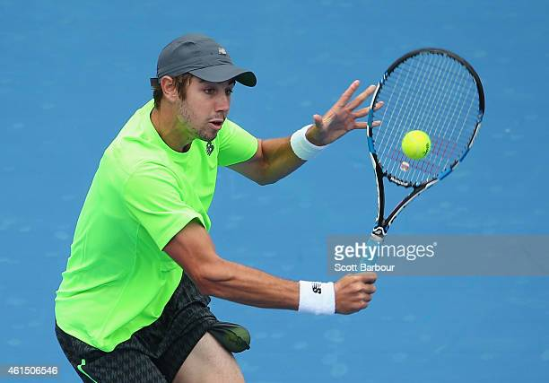 Jordan Thompson of Australia plays a backhand during his match against Kei Nishikori of Japan during day two of the Priceline Pharmacy Classic at...