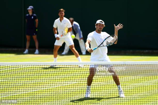 Jordan Thompson of Australia plays a backhand during the Gentlemen's Doubles second round match with Thanasi Kokkinakis of Australia against Marcus...
