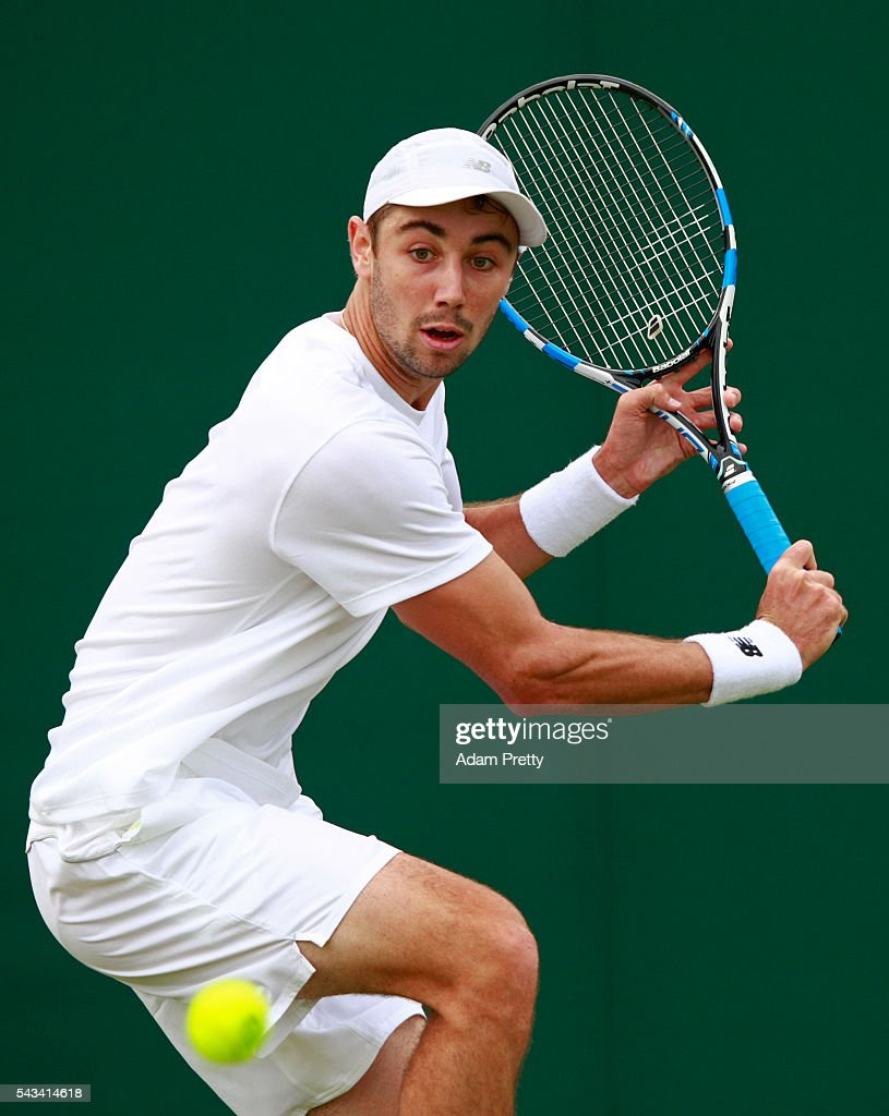 <a gi-track='captionPersonalityLinkClicked' href=/galleries/search?phrase=Jordan+Thompson+-+Tennis+Player&family=editorial&specificpeople=12328869 ng-click='$event.stopPropagation()'>Jordan Thompson</a> of Australia plays a backhand during the Men's Singles first round match against Roberto Bautista Agut of Spain on day two of the Wimbledon Lawn Tennis Championships at the All England Lawn Tennis and Croquet Club on June 28, 2016 in London, England.