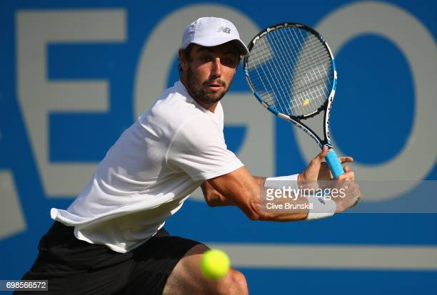 Jordan Thompson of Australia plays a backhand during the mens singles first round match against Andy Murray of Great Britain on day two of the 2017...