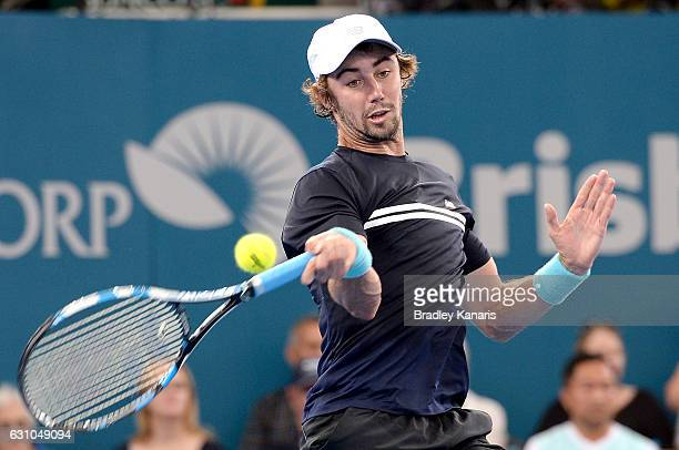 Jordan Thompson of Australia plays a forehand against Kei Nishikori of Japan on day six of the 2017 Brisbane International at Pat Rafter Arena on...
