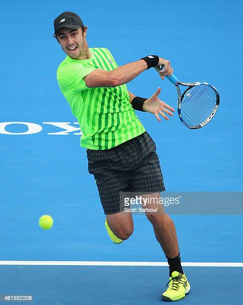 Jordan Thompson of Australia plays a forehand during his match against Feliciano Lopez of Spain during day three of the 2015 Priceline Pharmacy...