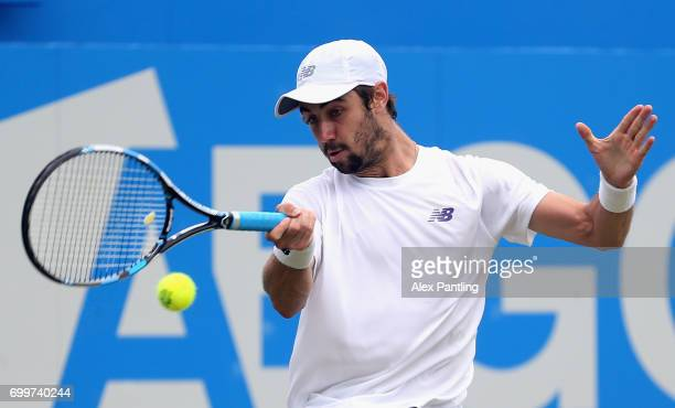 Jordan Thompson of Australia plays a forehand during the mens singles second round match against Sam Querry of The United States on day four of the...