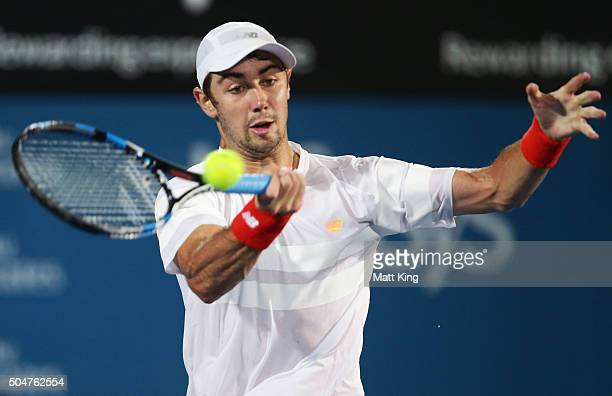 Jordan Thompson of Australia plays a forehand in his match against Bernard Tomic of Australia during day four of the Sydney International at Sydney...