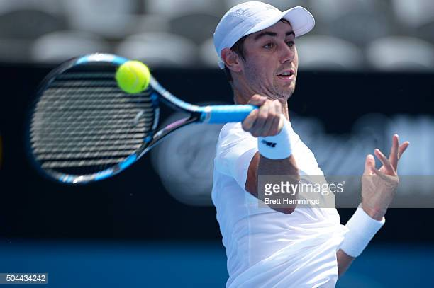 Jordan Thompson of Australia plays a forehand shot in his match against Martin Klizan of Slovakia during day two of the 2016 Sydney International at...
