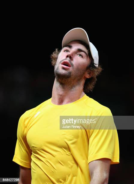 Jordan Thompson of Australia reacts after losing a point in his match against Steve Darcis of Belgium during day three of the Davis Cup World Group...